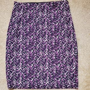 ANN TAYLOR Abstract Purple Stretch Pencil Skirt